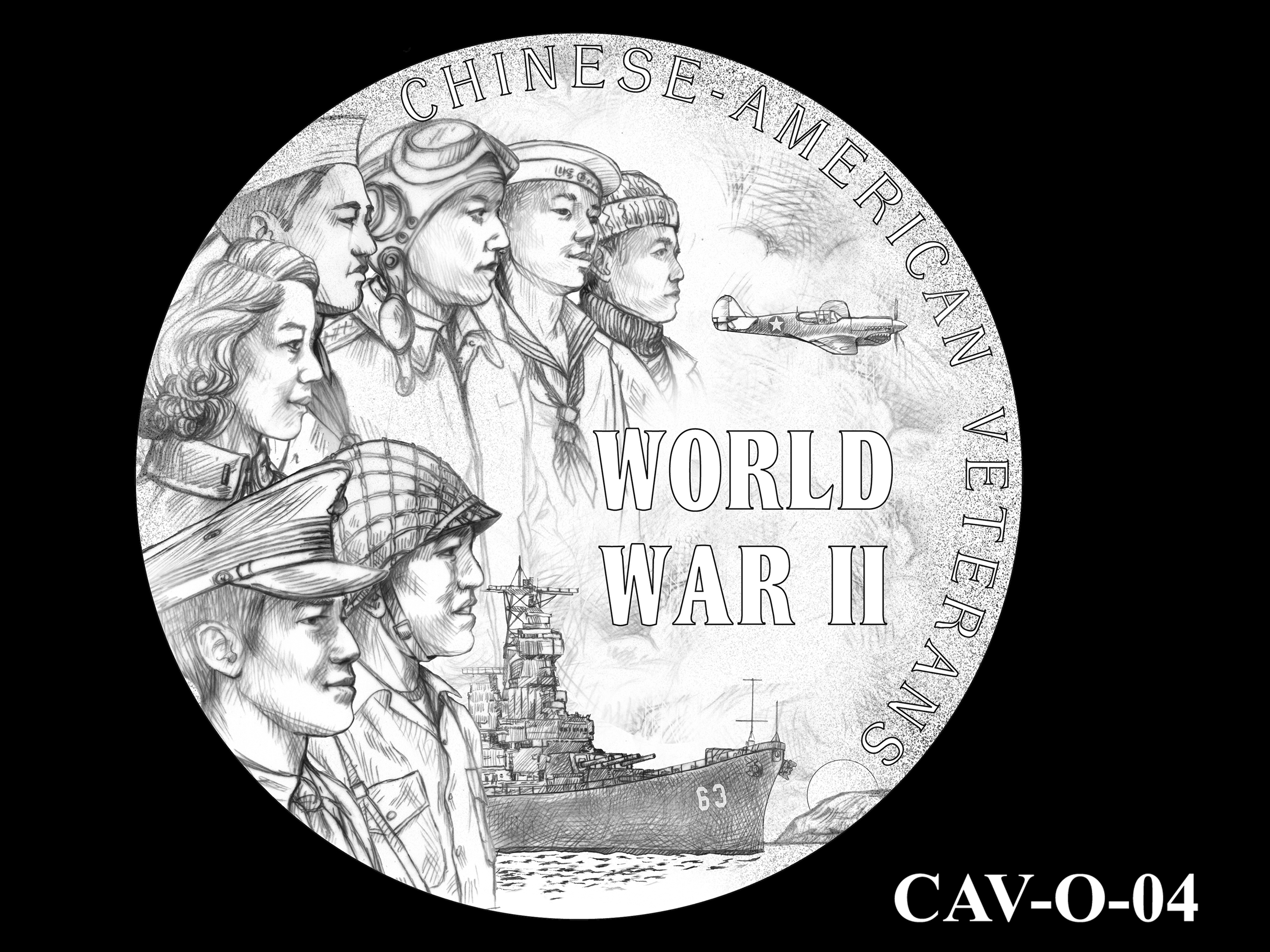 CAV-O-04 -- Chinese-American Veterans of World War II Congressional Gold Medal - Obverse
