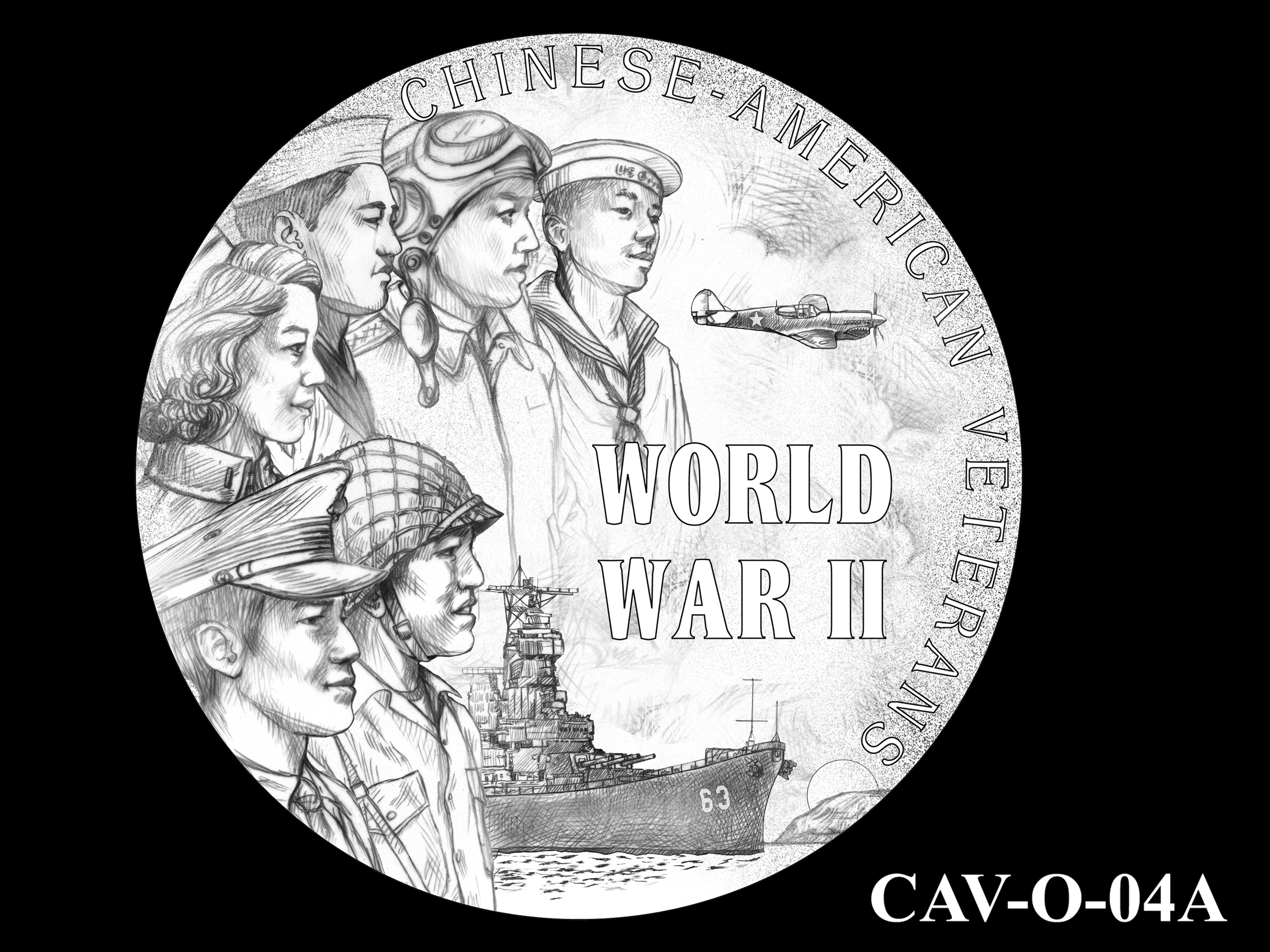 CAV-O-04A -- Chinese-American Veterans of World War II Congressional Gold Medal - Obverse