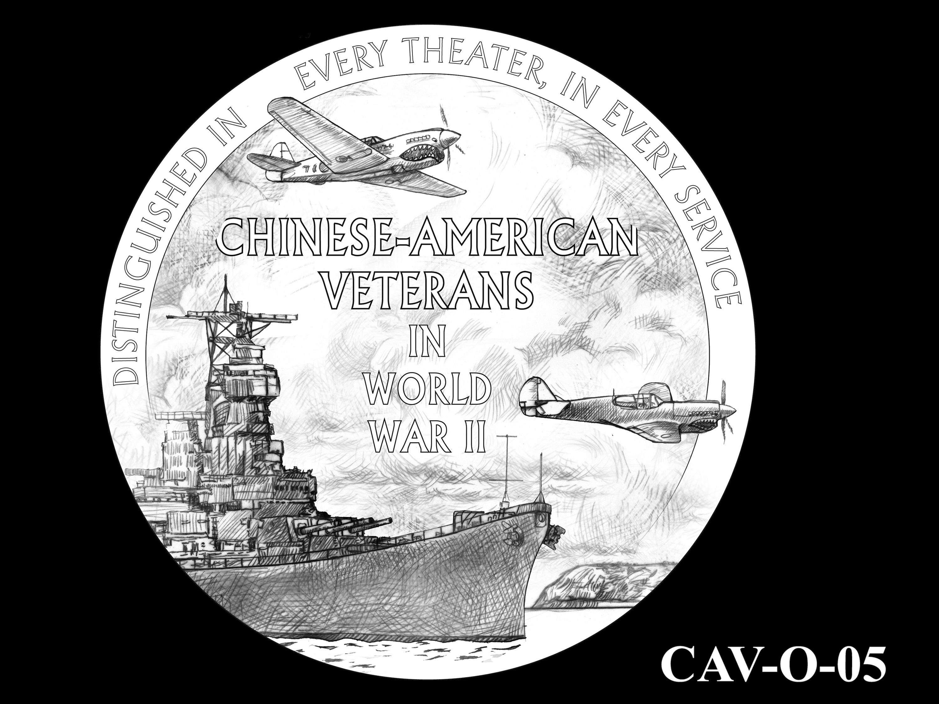CAV-O-05 -- Chinese-American Veterans of World War II Congressional Gold Medal - Obverse