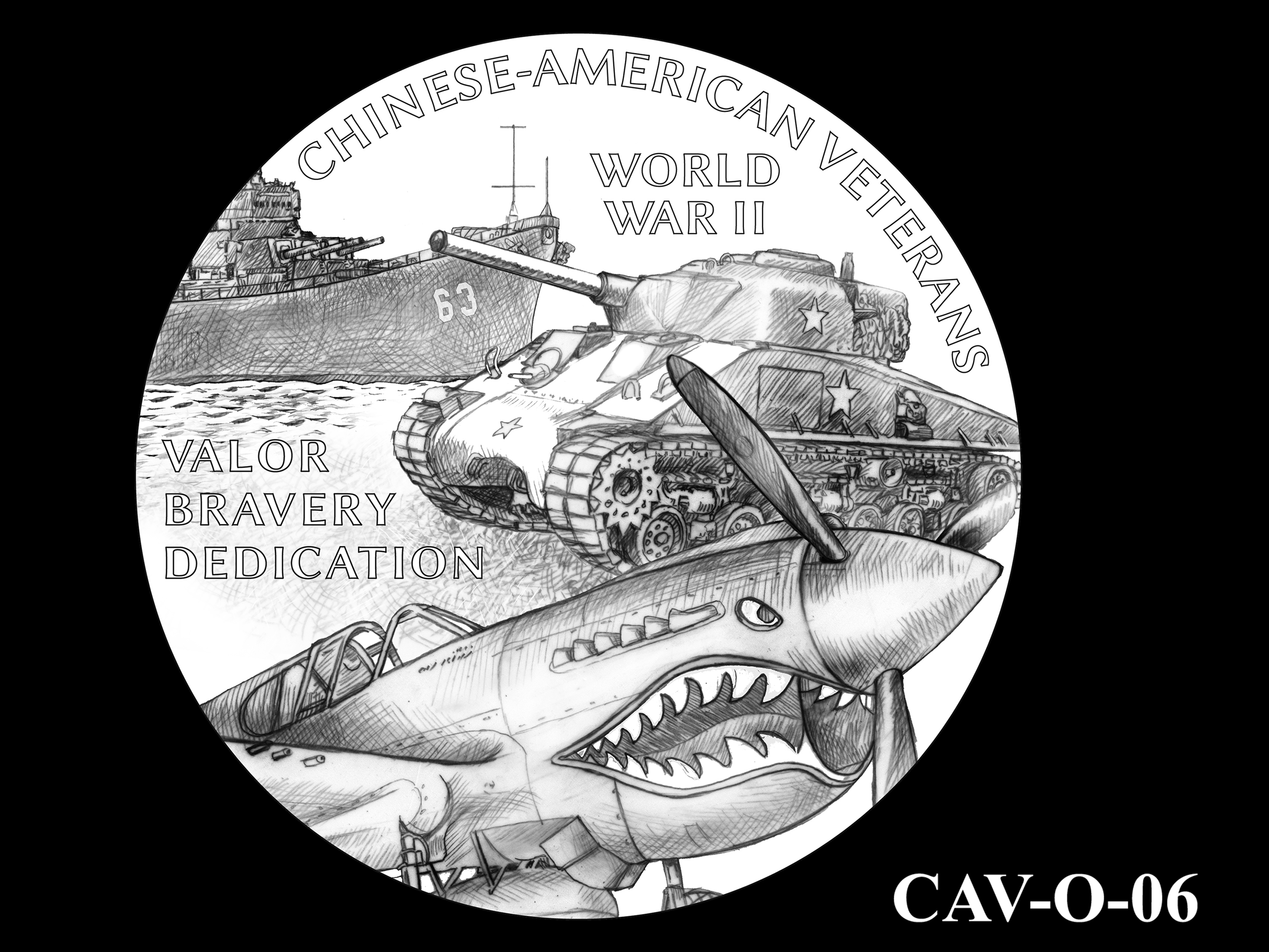 CAV-O-06 -- Chinese-American Veterans of World War II Congressional Gold Medal - Obverse