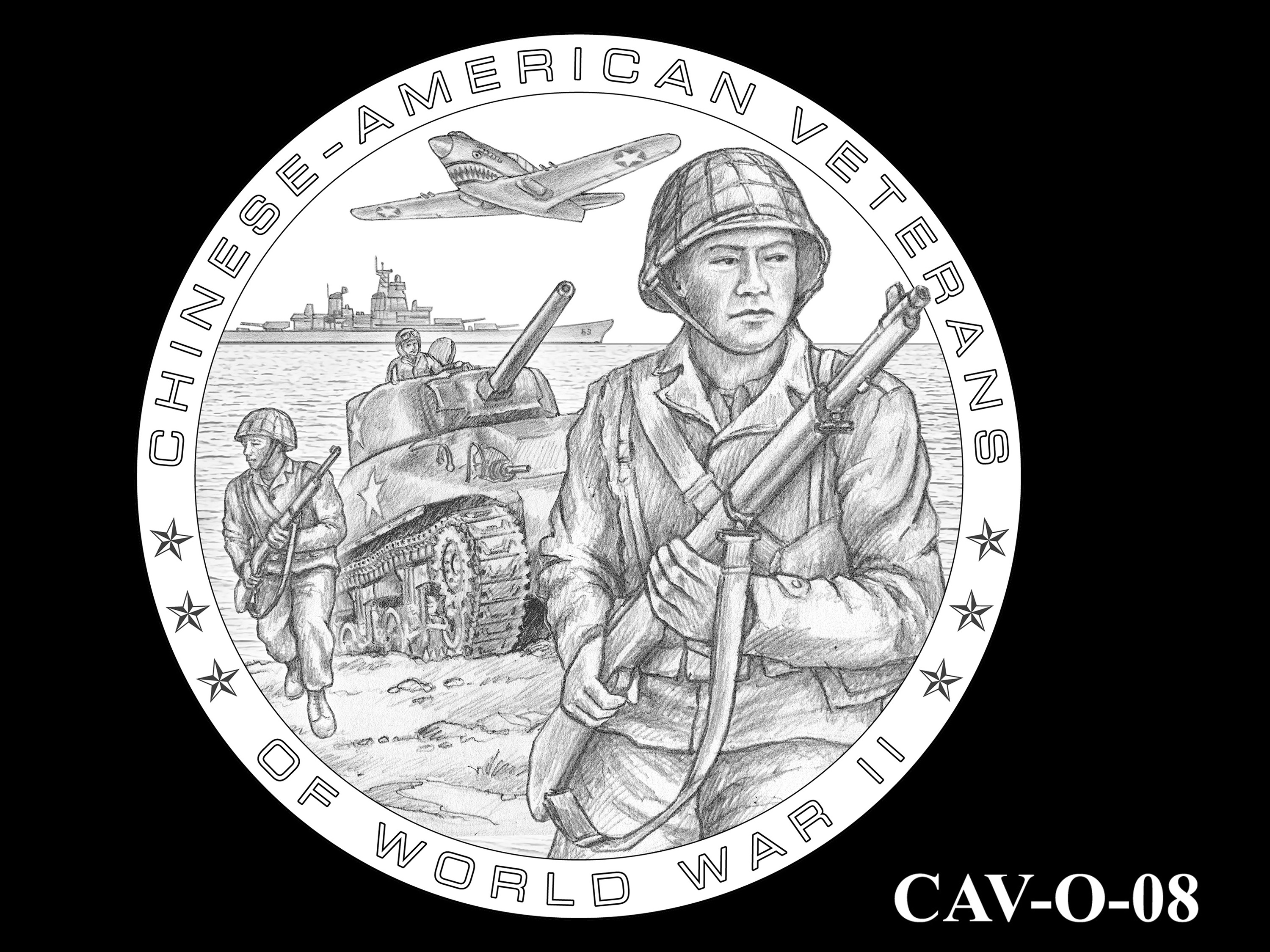 CAV-O-08 -- Chinese-American Veterans of World War II Congressional Gold Medal - Obverse