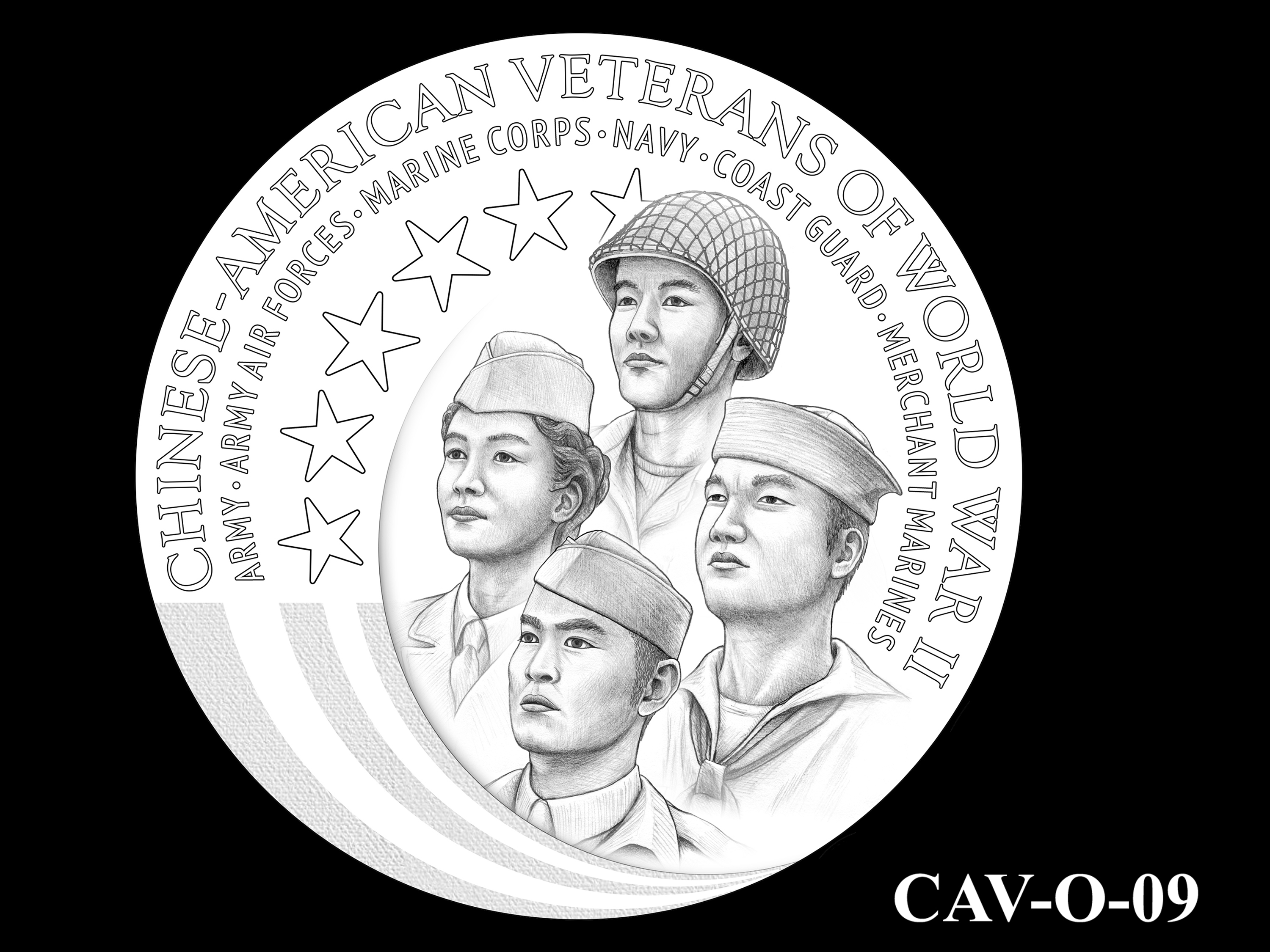 CAV-O-09 -- Chinese-American Veterans of World War II Congressional Gold Medal - Obverse