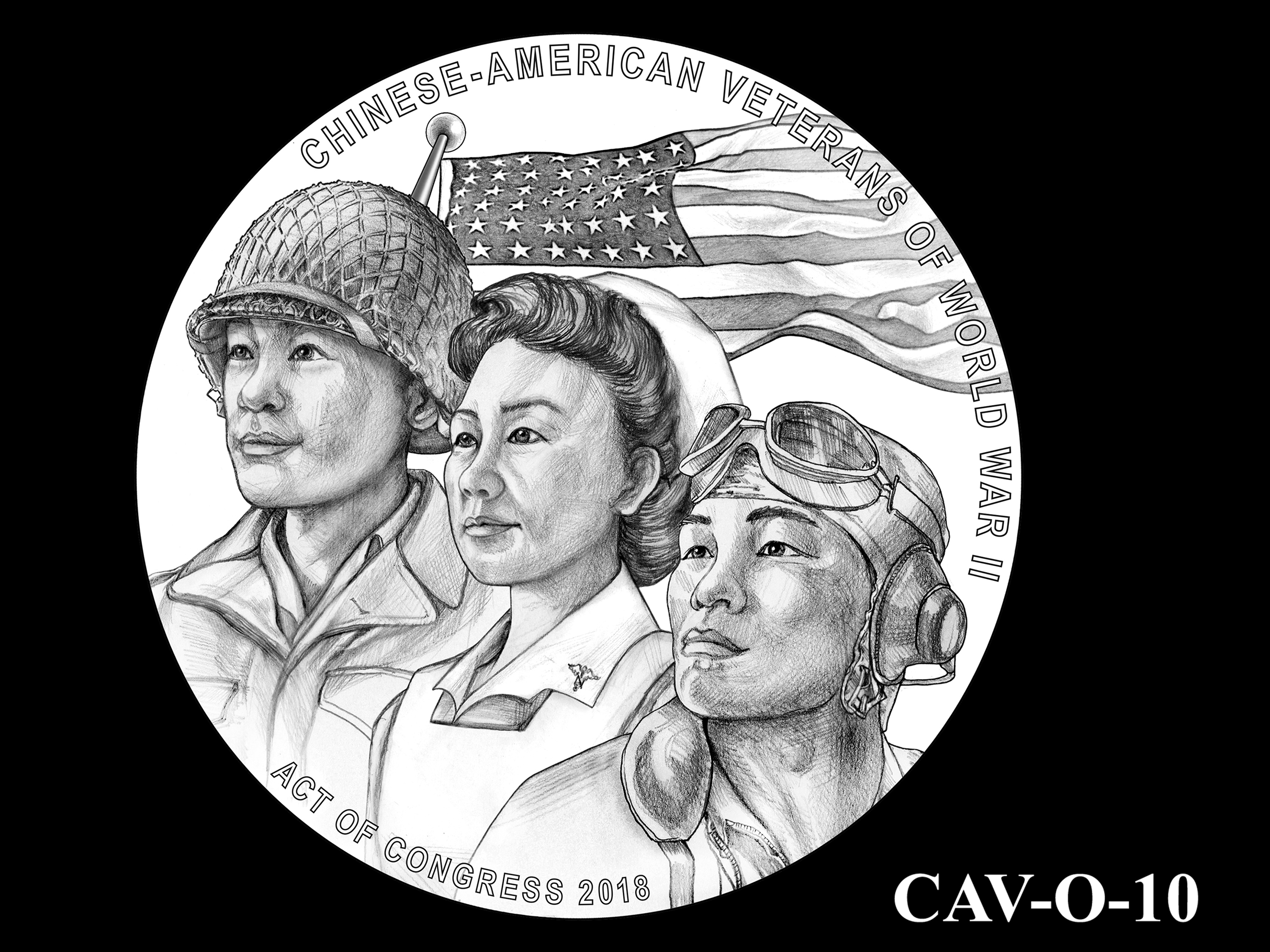 CAV-O-10 -- Chinese-American Veterans of World War II Congressional Gold Medal - Obverse