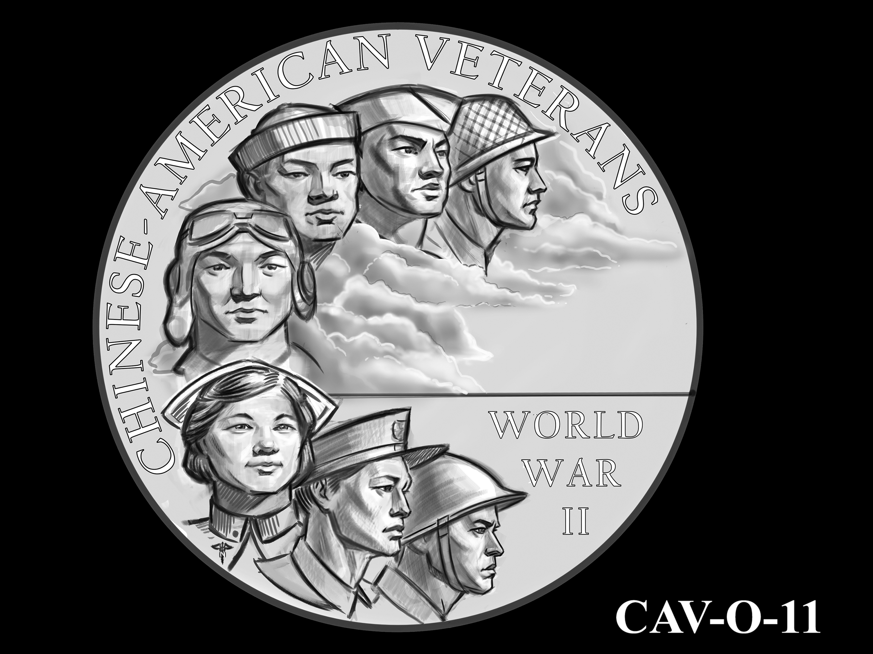 CAV-O-11 -- Chinese-American Veterans of World War II Congressional Gold Medal - Obverse