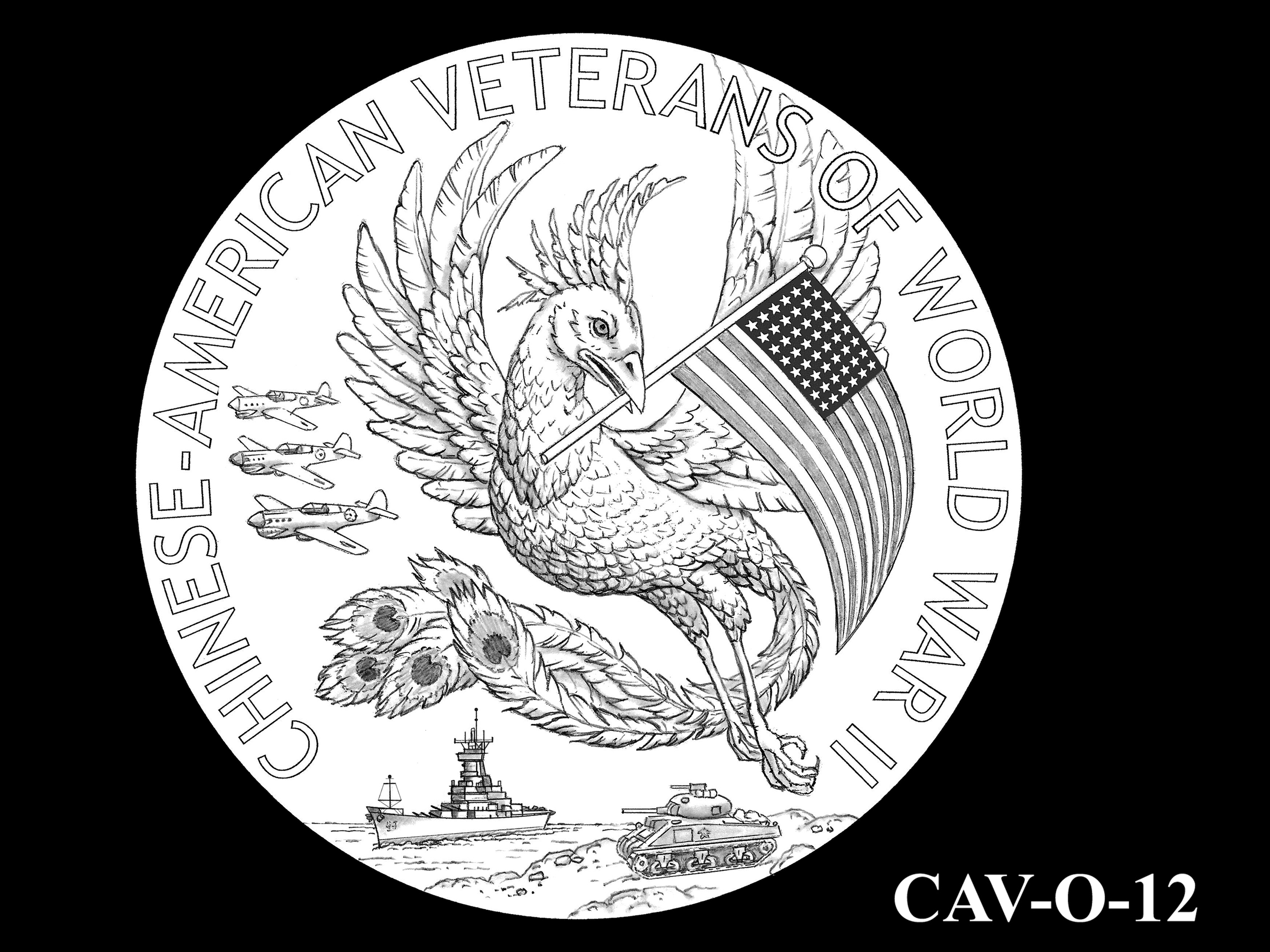 CAV-O-12 -- Chinese-American Veterans of World War II Congressional Gold Medal - Obverse