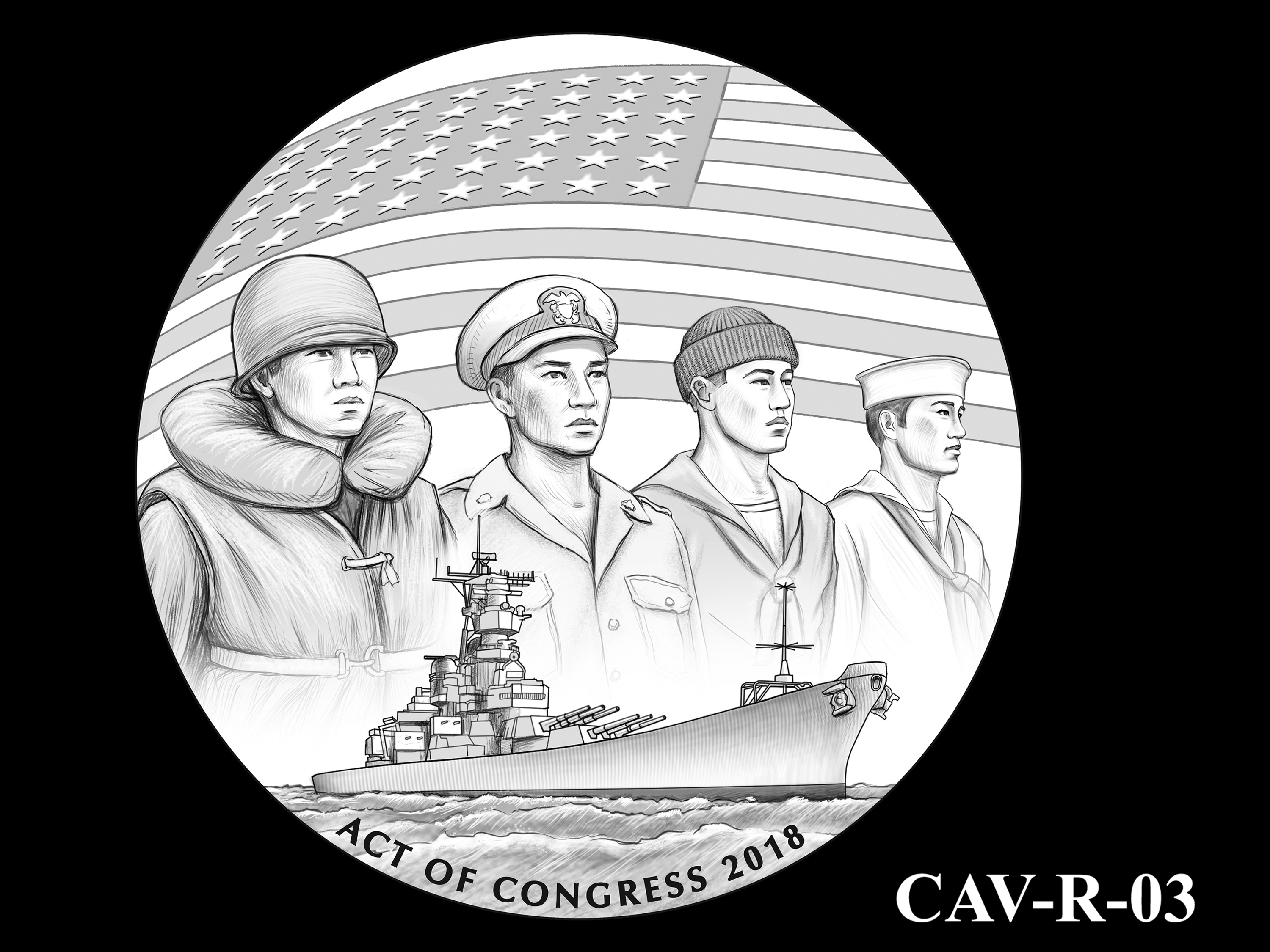 CAV-R-03 -- Chinese-American Veterans of World War II Congressional Gold Medal - Reverse