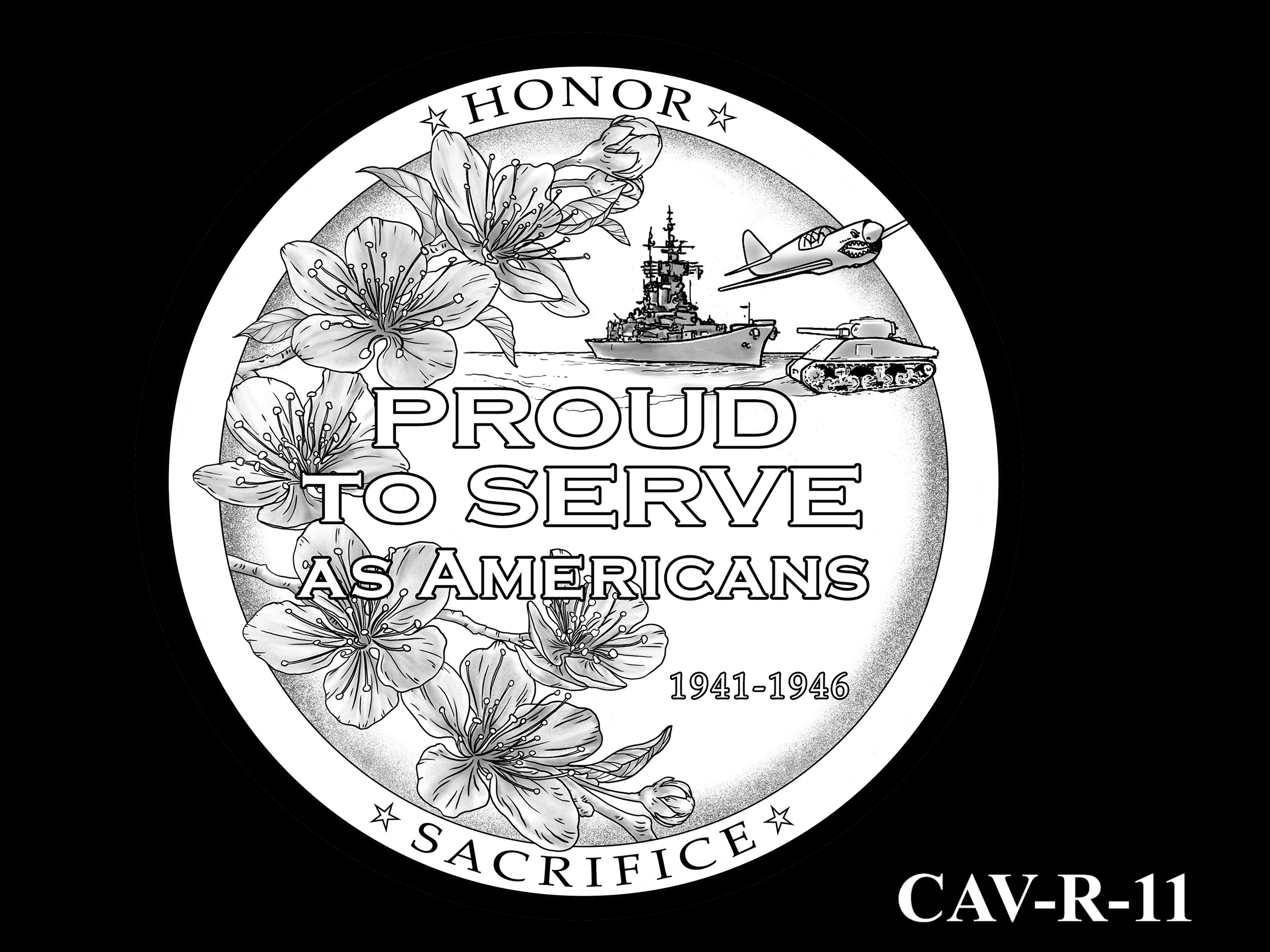 CAV-R-11 -- Chinese-American Veterans of World War II Congressional Gold Medal - Reverse