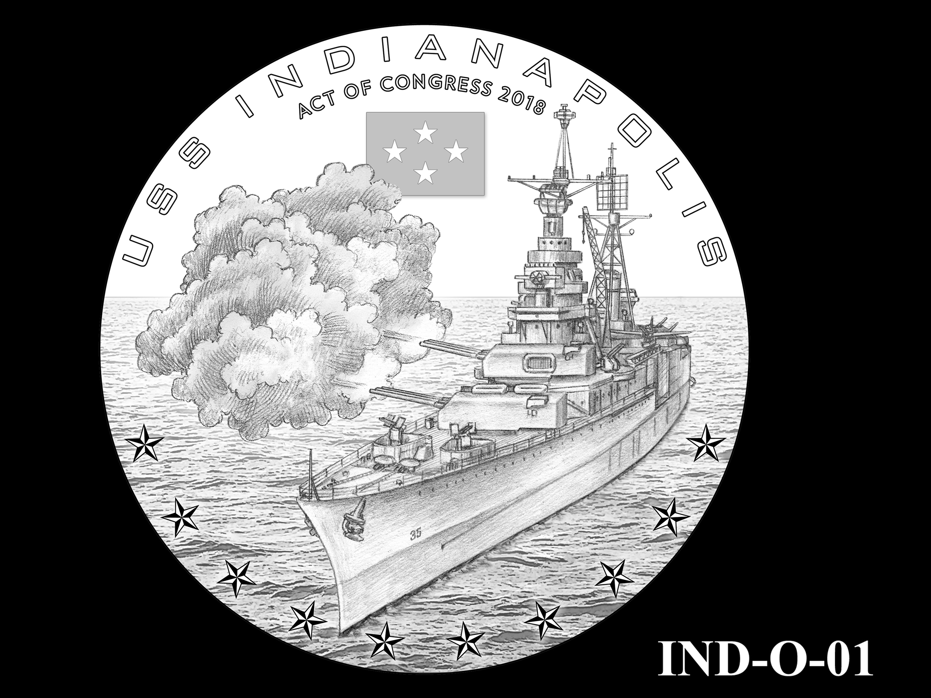 IND-O-01 - USS Indianapolis Congressional Gold Medal - Obverse