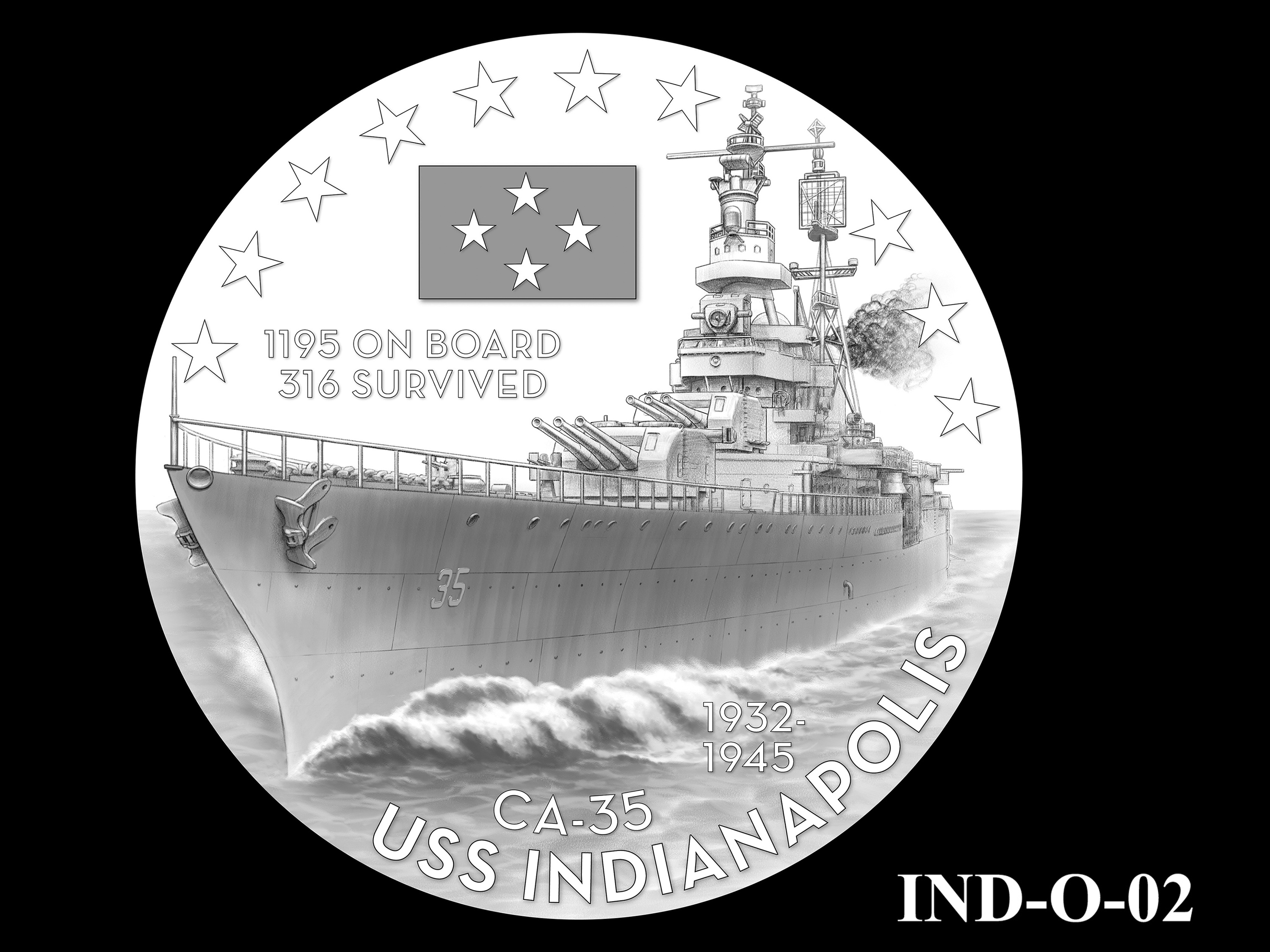 IND-O-02 - USS Indianapolis Congressional Gold Medal - Obverse