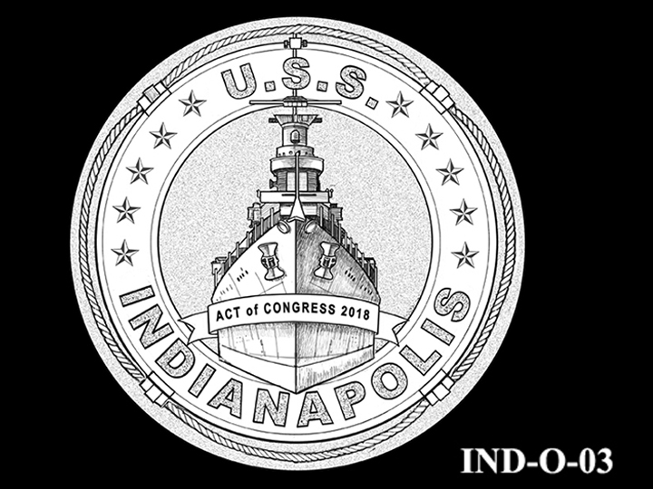 IND-O-03 - USS Indianapolis Congressional Gold Medal - Obverse