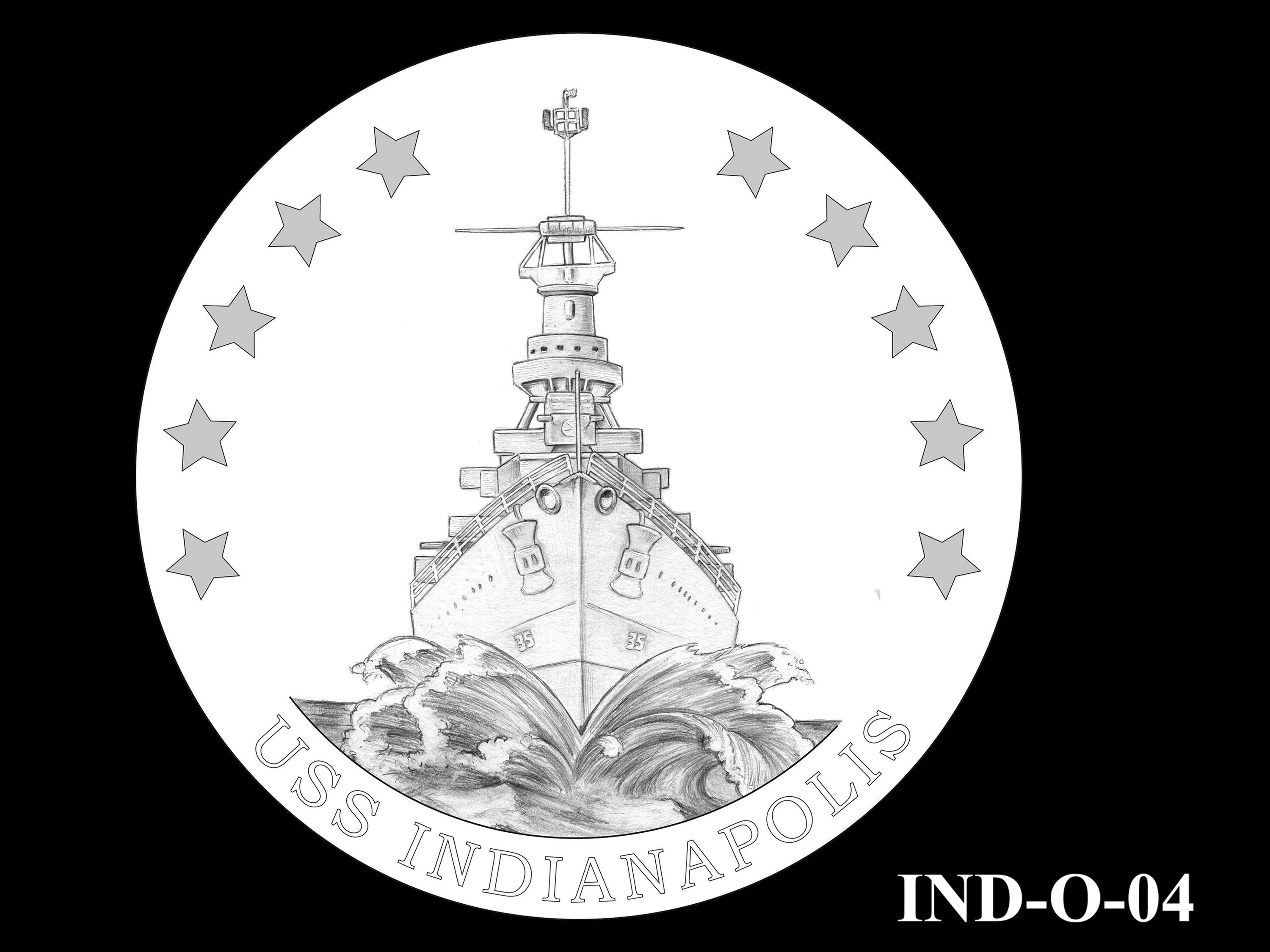 IND-O-04 - USS Indianapolis Congressional Gold Medal - Obverse