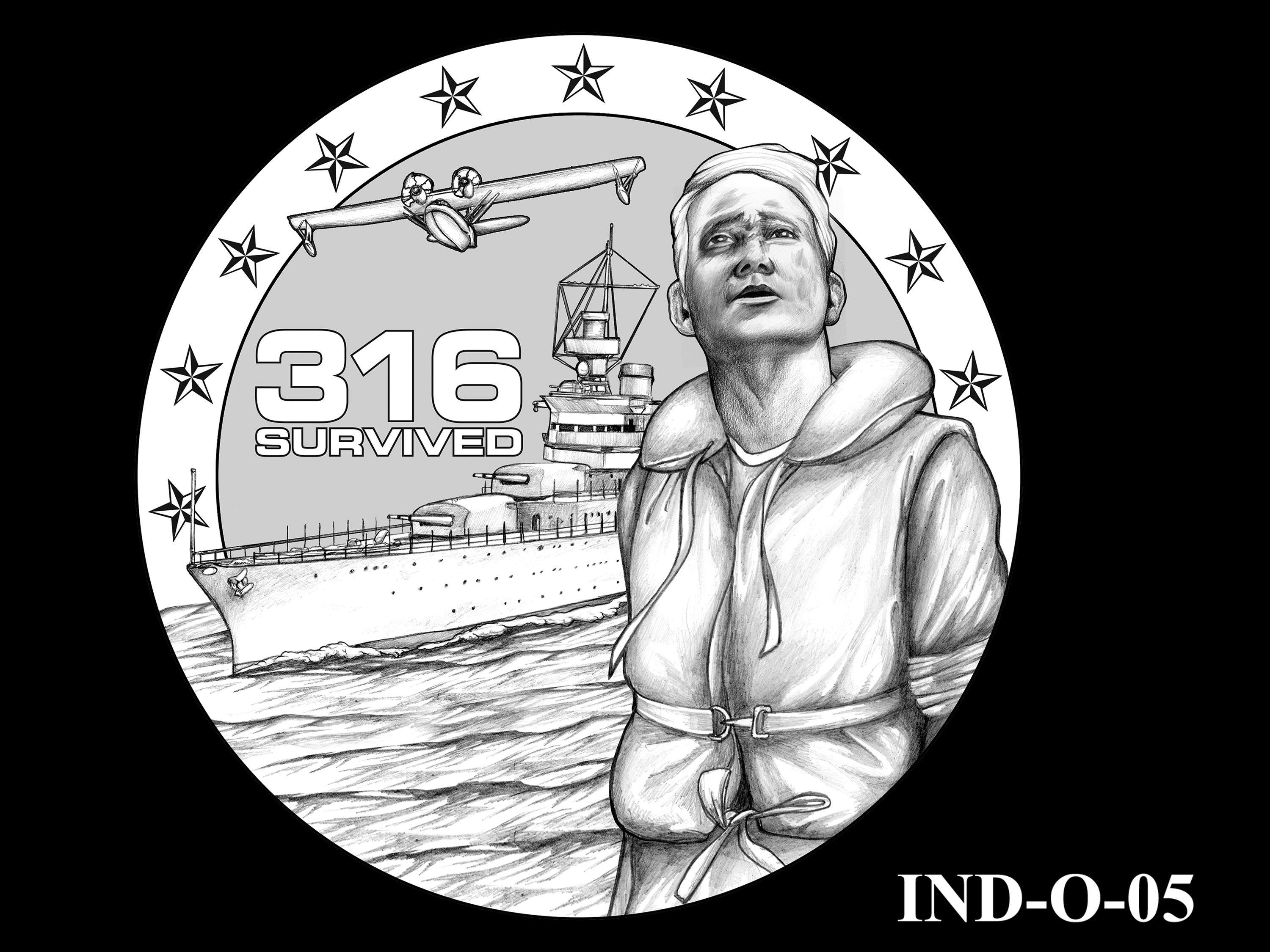 IND-O-05 - USS Indianapolis Congressional Gold Medal - Obverse