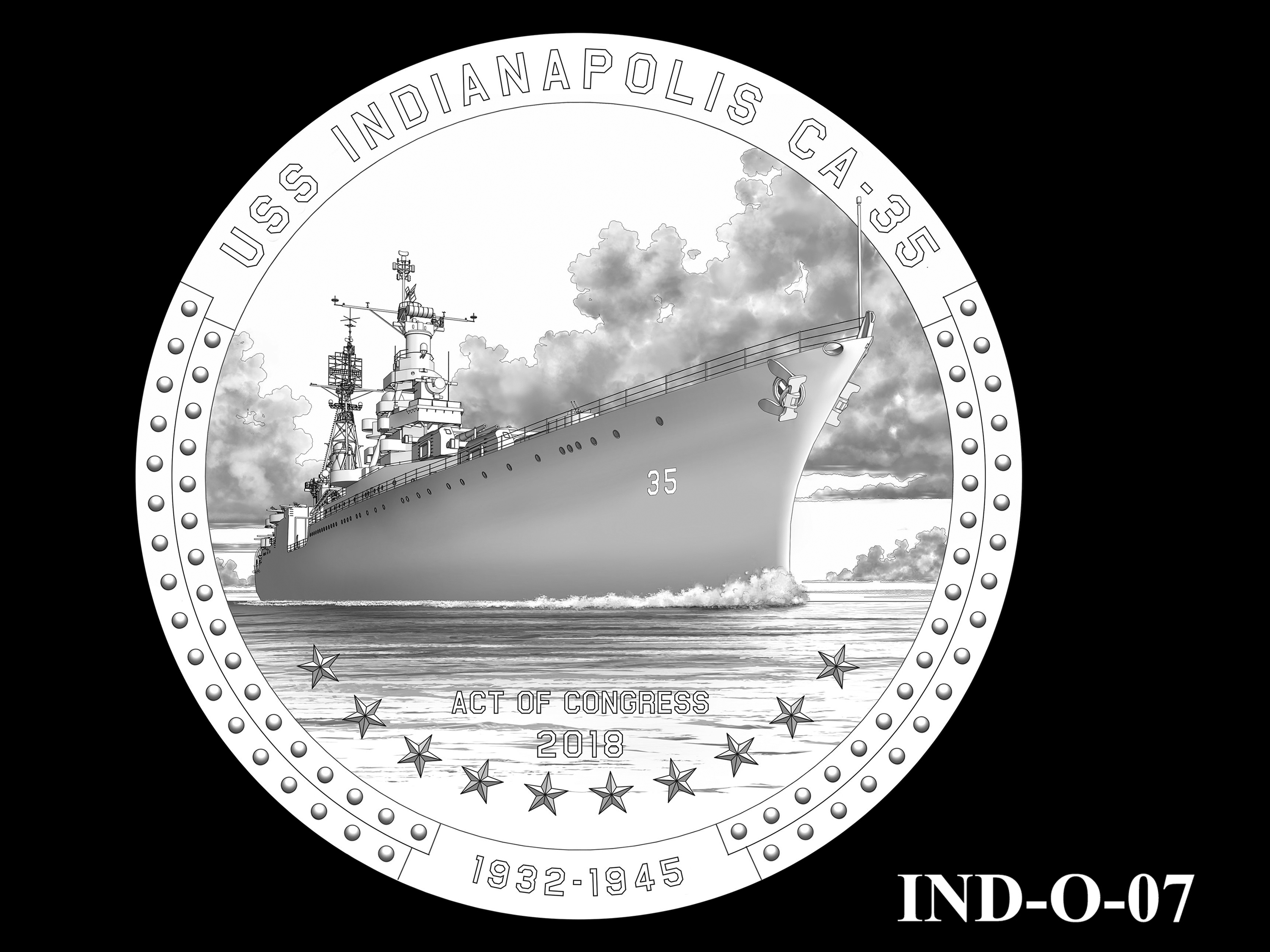 IND-O-07 - USS Indianapolis Congressional Gold Medal - Obverse
