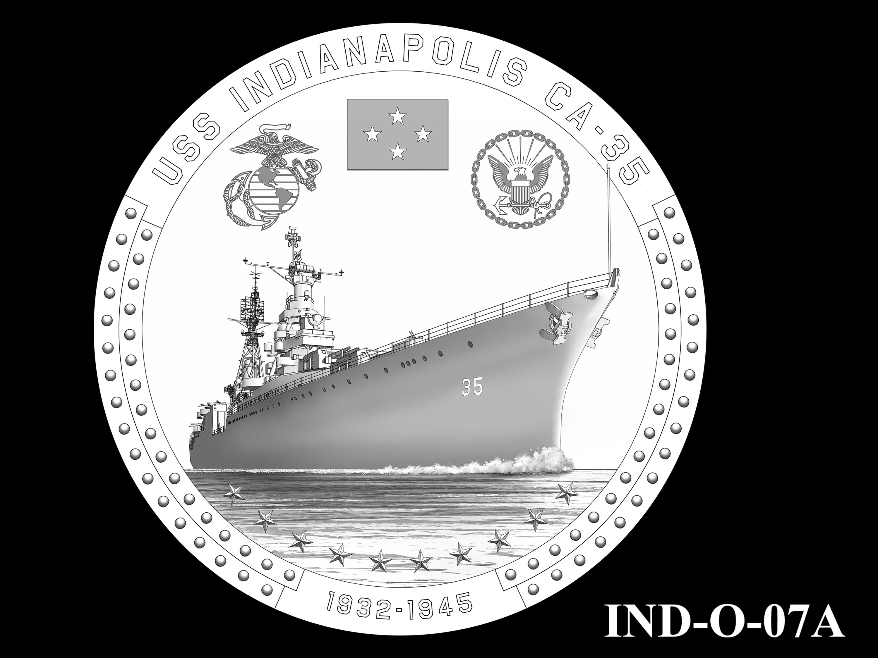 IND-O-07A - USS Indianapolis Congressional Gold Medal - Obverse