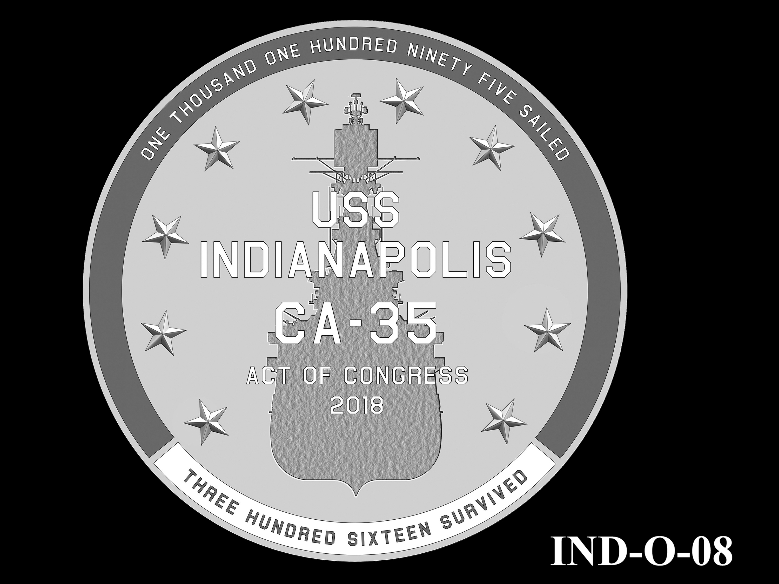 IND-O-08 - USS Indianapolis Congressional Gold Medal - Obverse