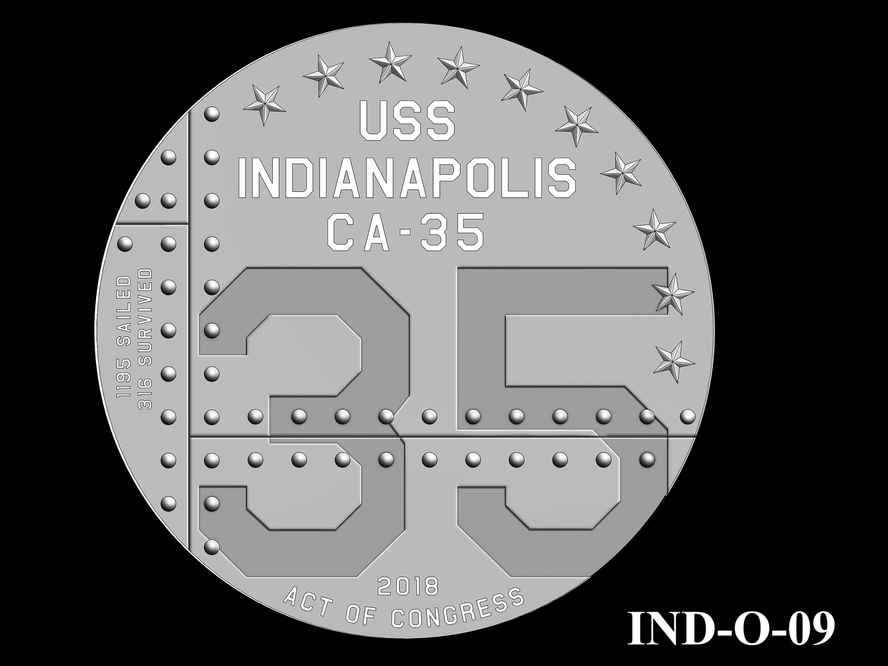 IND-O-09 - USS Indianapolis Congressional Gold Medal - Obverse