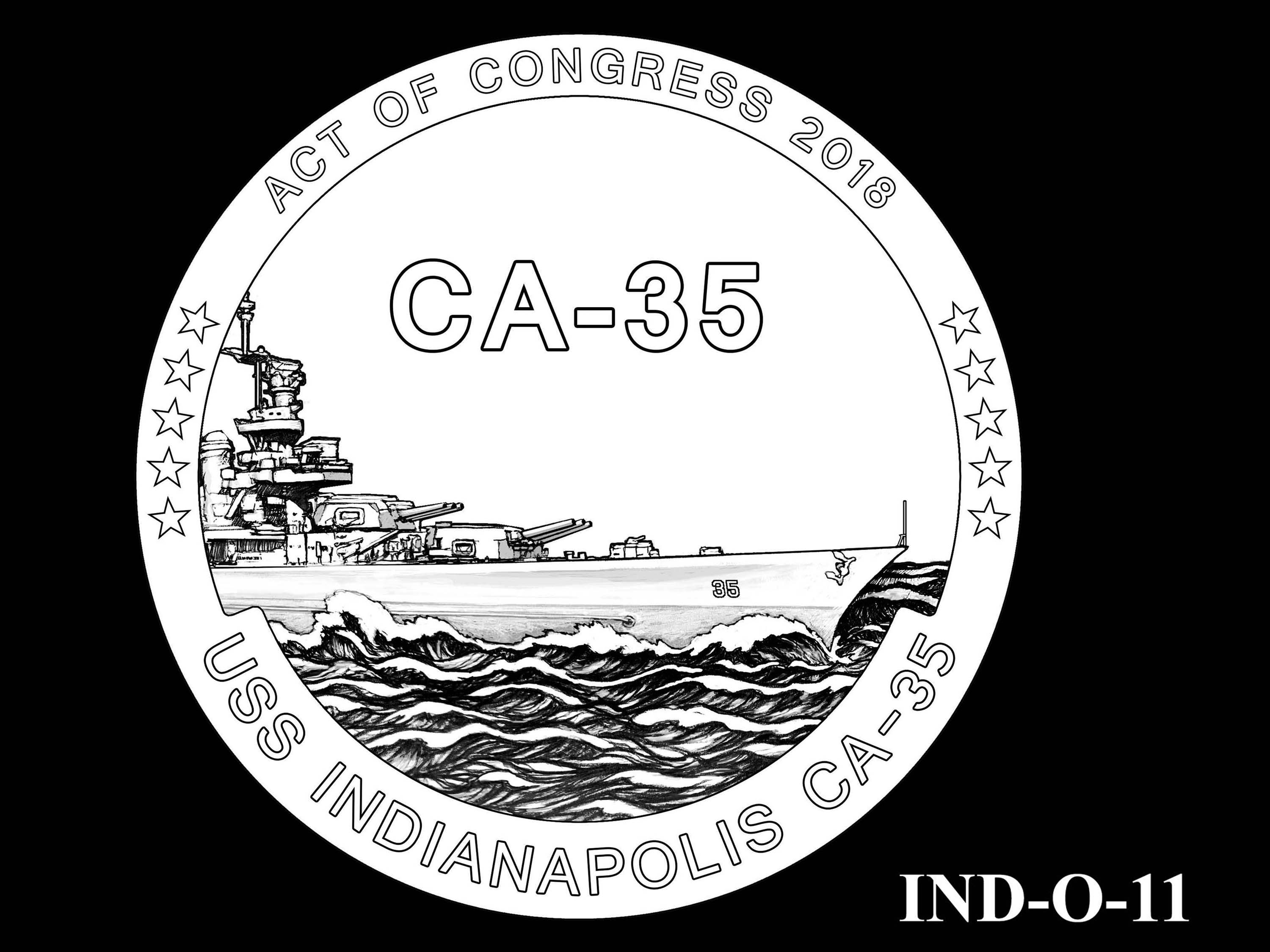 IND-O-11 - USS Indianapolis Congressional Gold Medal - Obverse