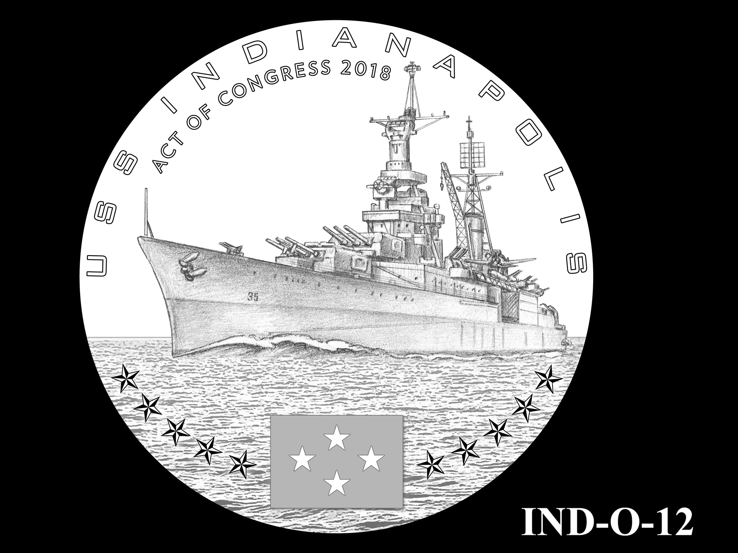 IND-O-12 - USS Indianapolis Congressional Gold Medal - Obverse
