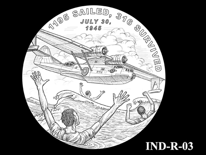 IND-R-03 - USS Indianapolis Congressional Gold Medal - Reverse