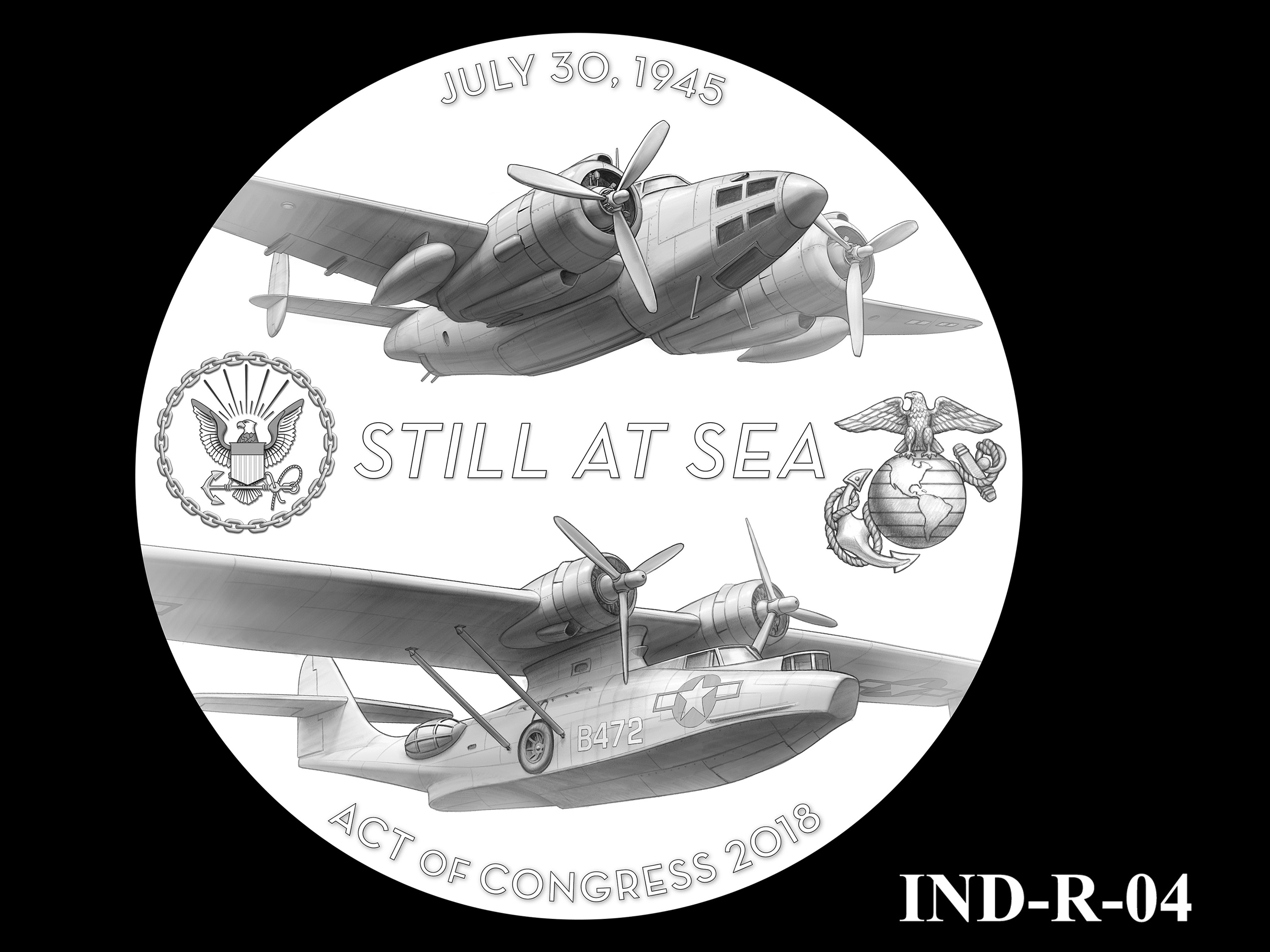 IND-R-04 - USS Indianapolis Congressional Gold Medal - Reverse