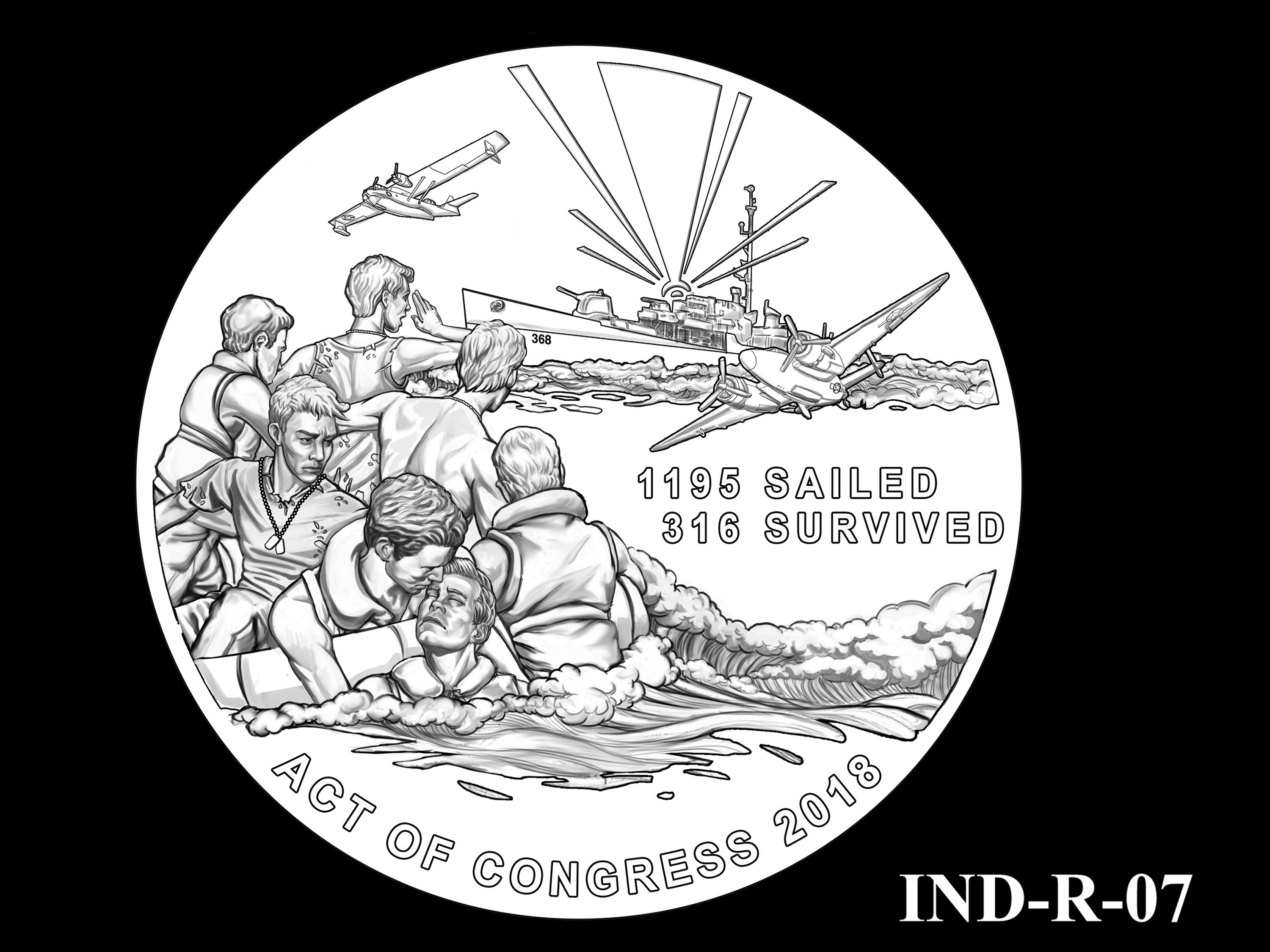 IND-R-07 - USS Indianapolis Congressional Gold Medal - Reverse
