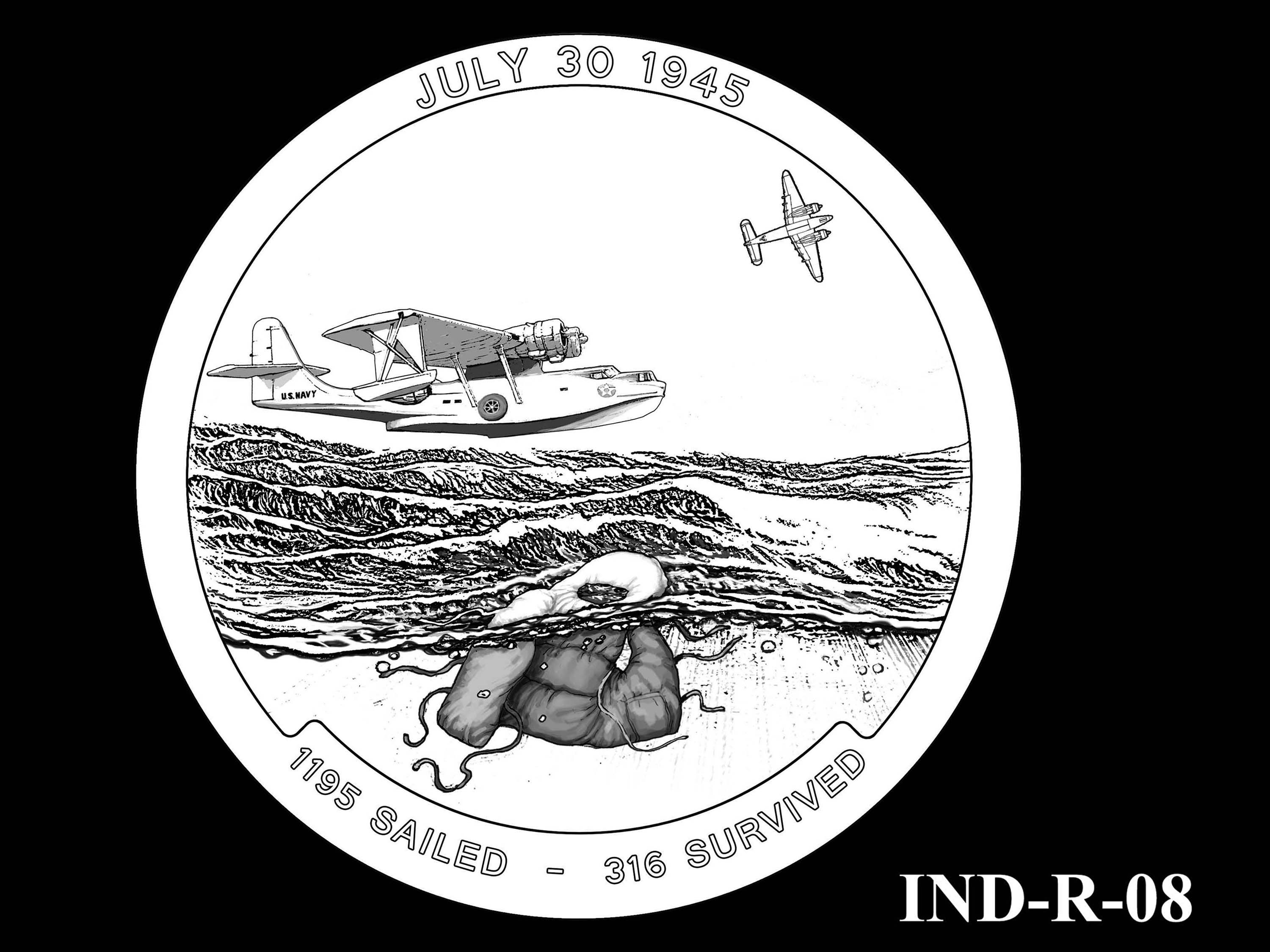 IND-R-08 - USS Indianapolis Congressional Gold Medal - Reverse