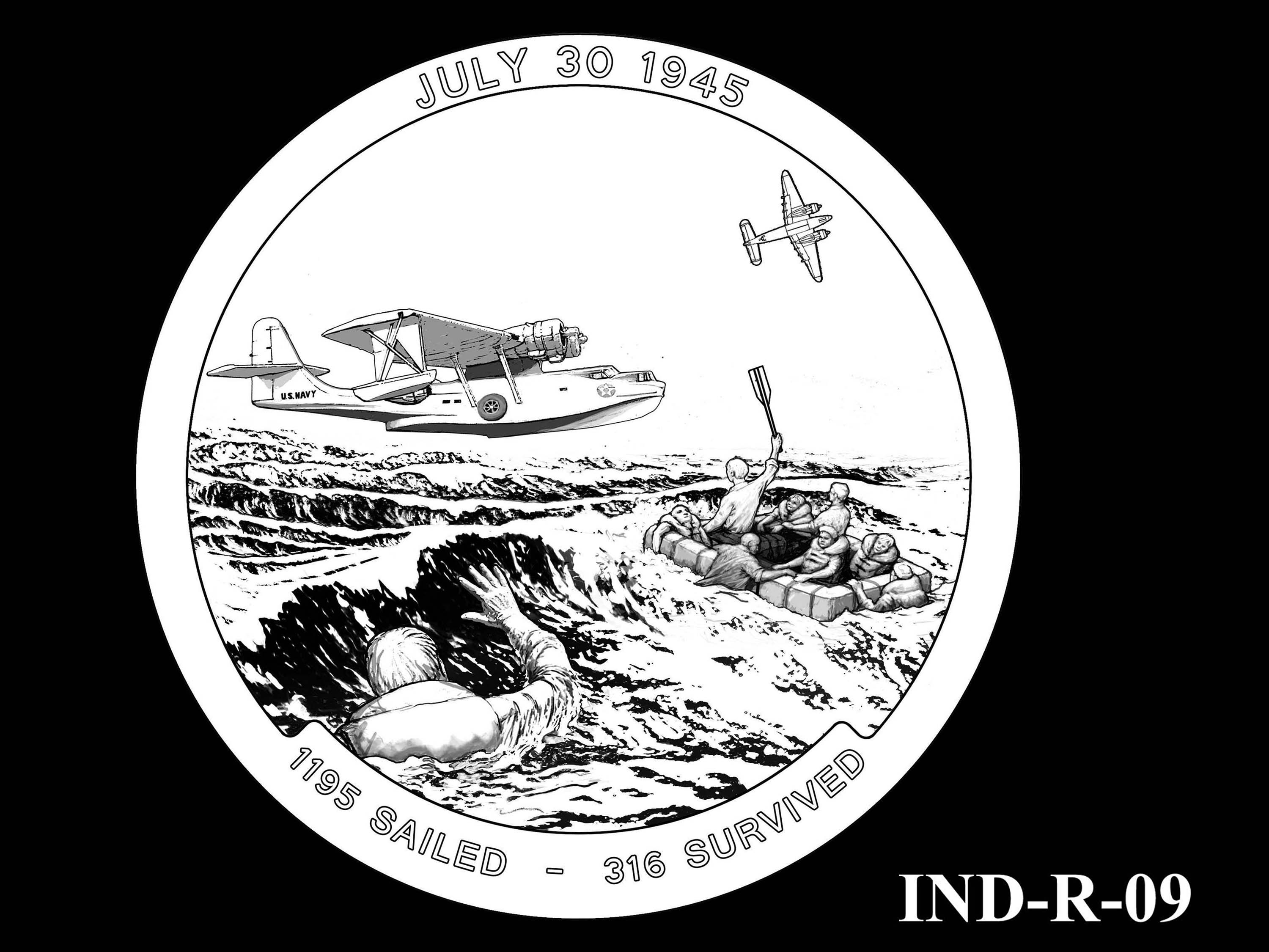 IND-R-09 - USS Indianapolis Congressional Gold Medal - Reverse