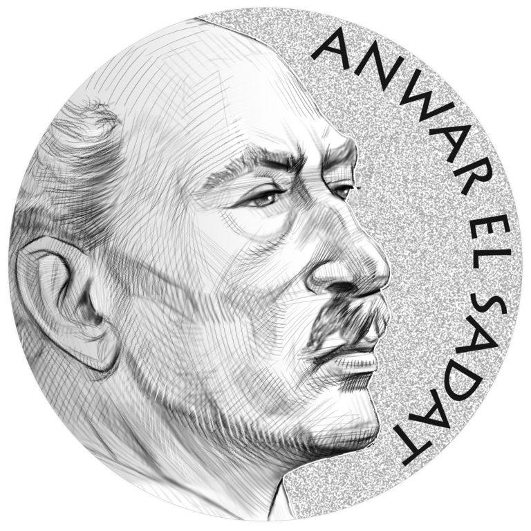 Anwar El Sadat Medal Line Art Obverse
