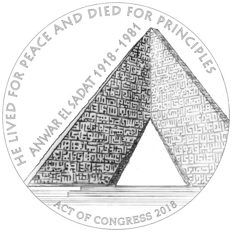 Anwar El Sadat Medal Line Art Reverse