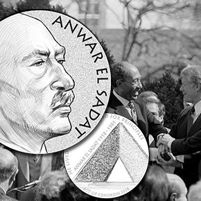 Anwar Sadat Congressional Gold Medal line art press release image