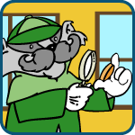 Kids Caring for your Coin Collection icon of Inspector Collector inspecting a coin with a magnifying glass