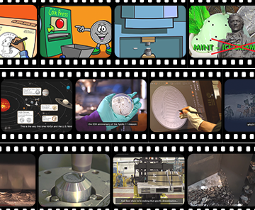 Kids homepage feature of coin videos film reel