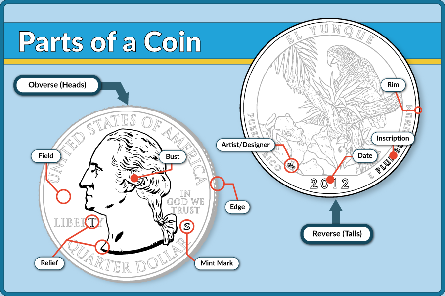Kids Parts of a Coin graphic showing front and back of coin with labeled parts