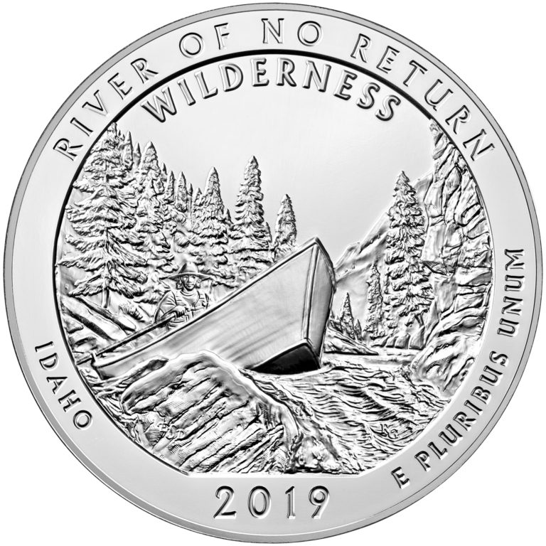 2019 America the Beautiful Quarters Five Ounce Silver Bullion Coin River of No Return Wilderness Idaho Reverse