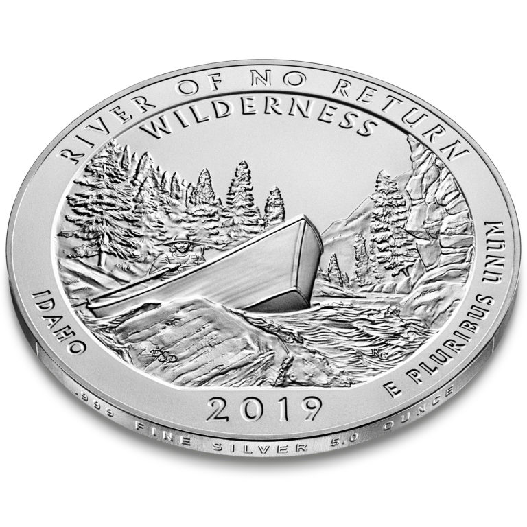 2019 America the Beautiful Quarters Five Ounce Silver Uncirculated Coin River of No Return Wilderness Idaho Reverse Angle