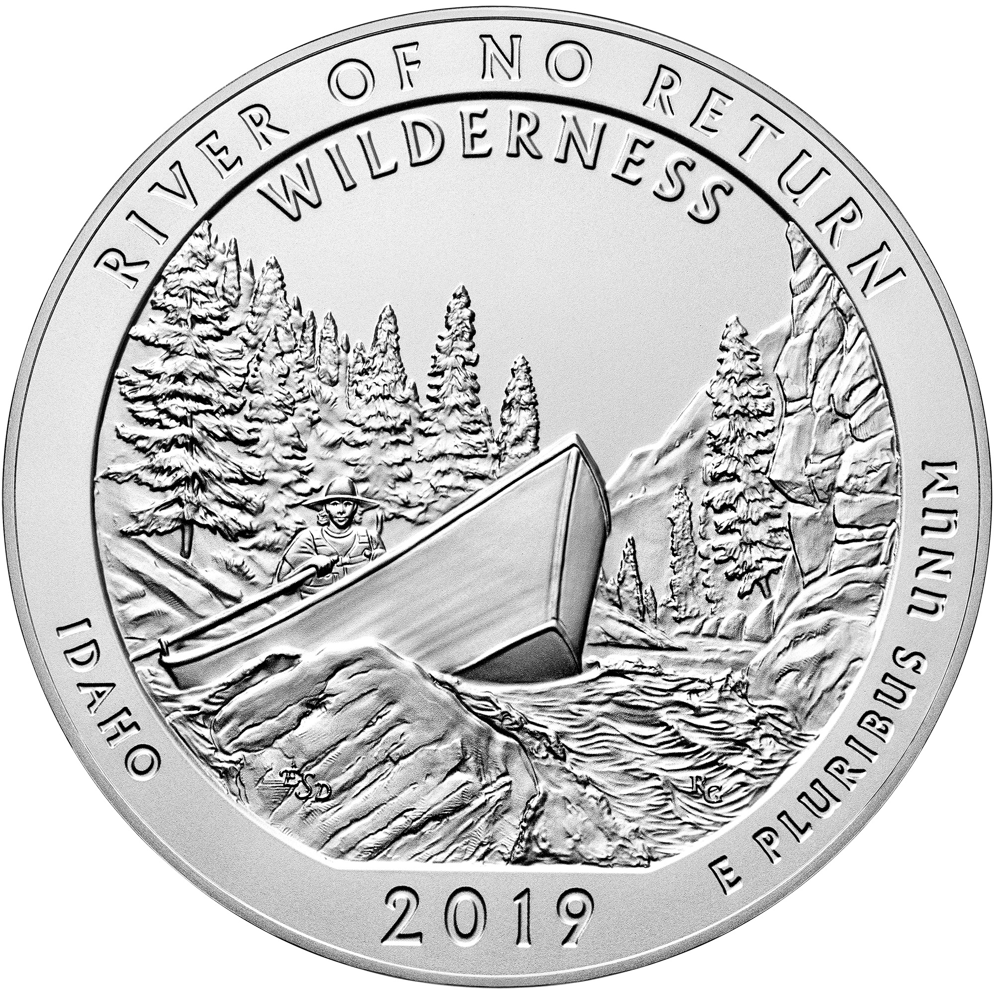 2019 America the Beautiful Quarters Five Ounce Silver Uncirculated Coin River of No Return Wilderness Idaho Reverse