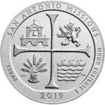 2019 America the Beautiful Quarters Five Ounce Silver Uncirculated Coin San Antonio Missions Texas Reverse
