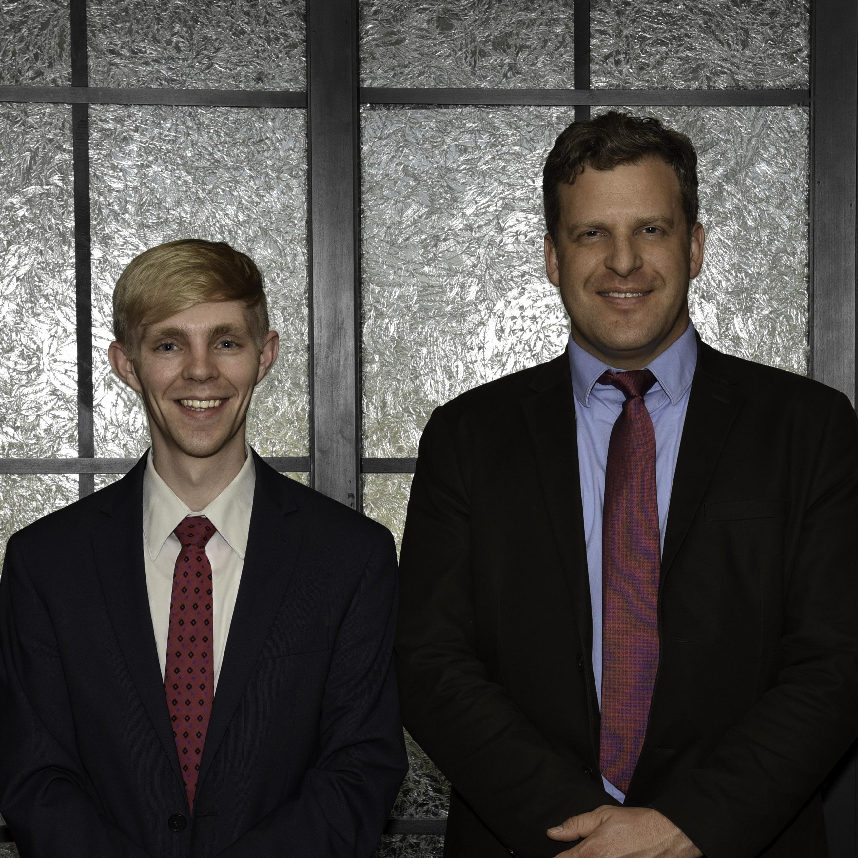 New AIP member Peter Beck (left) studied under veteran AIP member Justin Kunz (right) at Brigham Young University in 2015.