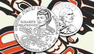 2020 Native American $1 Coin design featuring Elizabeth Peratrovich and Anti-Discrimination Law of 1945