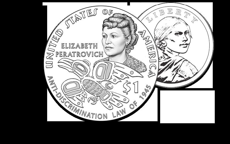 2020 Native American $1 Coin Elizabeth Peratrovich line art image