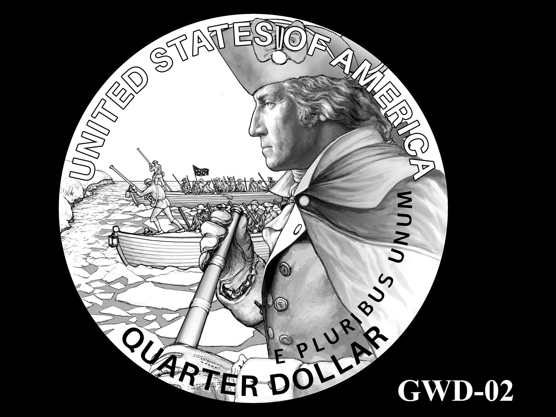 GWD-02 -- George Washington Crossing the Delaware River Quarter - Reverse