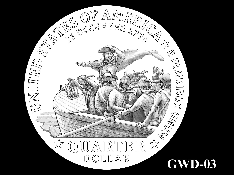 GWD-03 -- George Washington Crossing the Delaware River Quarter - Reverse