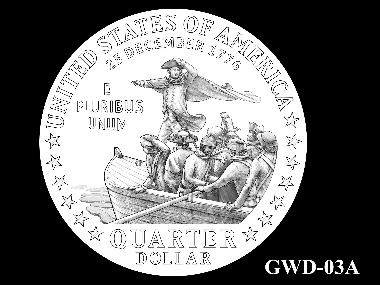 GWD-03A -- George Washington Crossing the Delaware River Quarter - Reverse