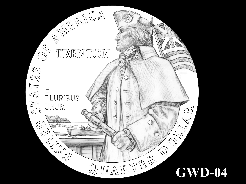 GWD-04 -- George Washington Crossing the Delaware River Quarter - Reverse