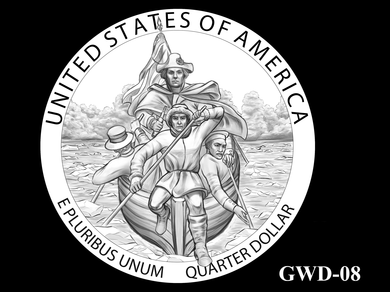 GWD-08 -- George Washington Crossing the Delaware River Quarter - Reverse