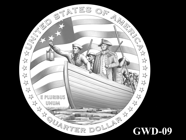 GWD-09 -- George Washington Crossing the Delaware River Quarter - Reverse
