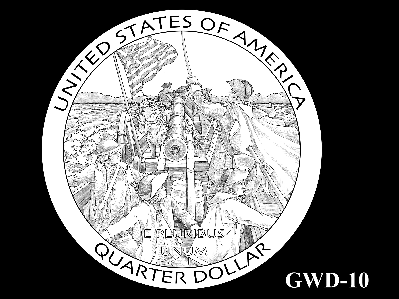 GWD-10-- George Washington Crossing the Delaware River Quarter - Reverse