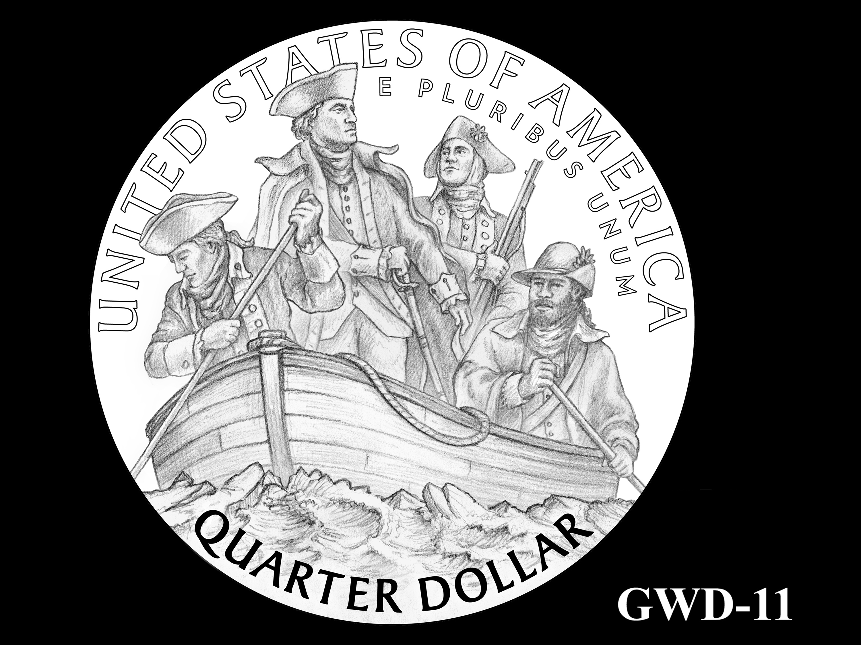 GWD-11 -- George Washington Crossing the Delaware River Quarter - Reverse