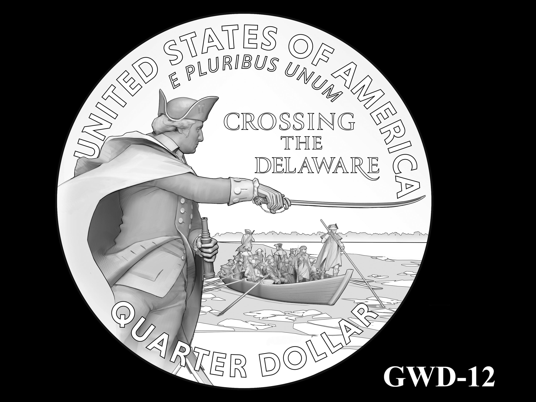 GWD-12 -- George Washington Crossing the Delaware River Quarter - Reverse