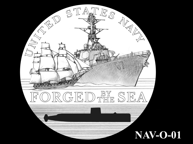 NAV-O-01 -- 2021 United States Navy Silver Medal  - Obverse